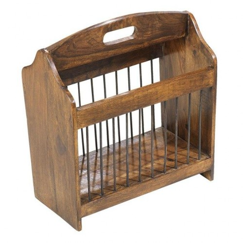 Cube Sheesham Industrial Magazine Rack