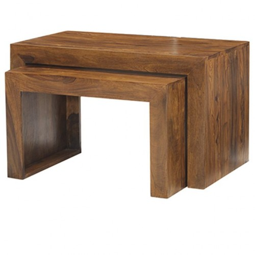 Cube Sheesham Industrial Table Nest