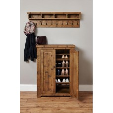 Heyford Oak Industrial Style Shoe Cupboard