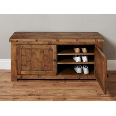 Heyford Oak Industrial Style Shoe Storage Bench
