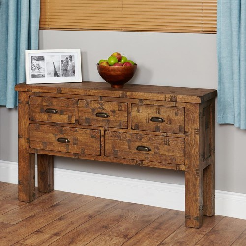 Heyford Oak Industrial Style Console Table