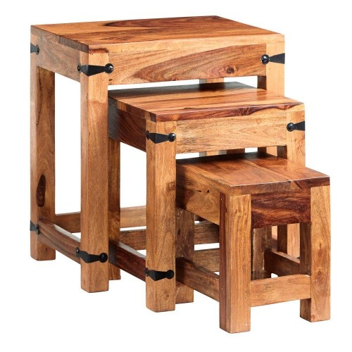 Industrial Style Jali Nest of 3 Tables