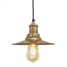 Brooklyn Antique Flat Industrial Pendant Light - Brass - 8 inch