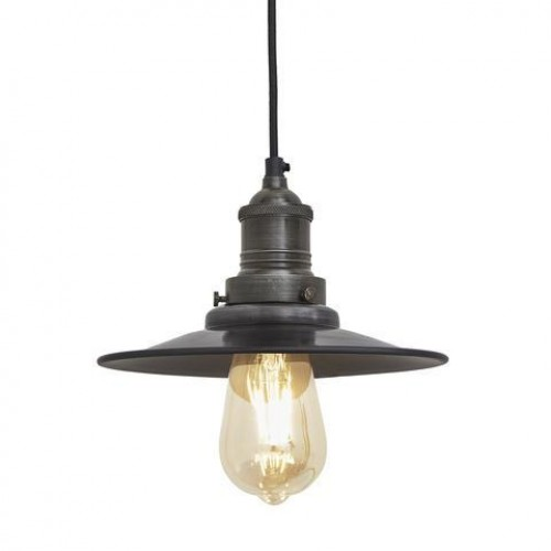 Brooklyn Antique Flat Industrial Pendant Light - Dark Pewter - 8 inch