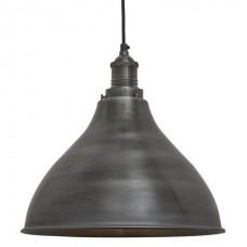 Brooklyn Vintage Metal Cone Pendant Light - Dark Grey Pewter - 12 inch