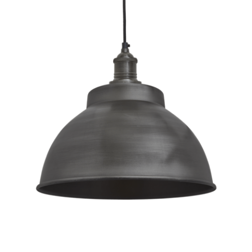 Brooklyn Vintage Metal Dome Pendant Light - Dark Pewter - 13 inch
