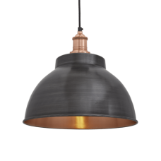 Brooklyn Vintage Metal Dome Pendant Light - Dark Pewter & Copper - 13inch