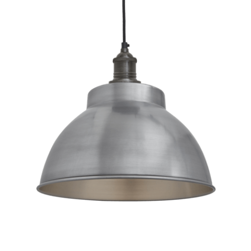 Brooklyn Vintage Metal Dome Pendant Light - Light Pewter - 13 inch