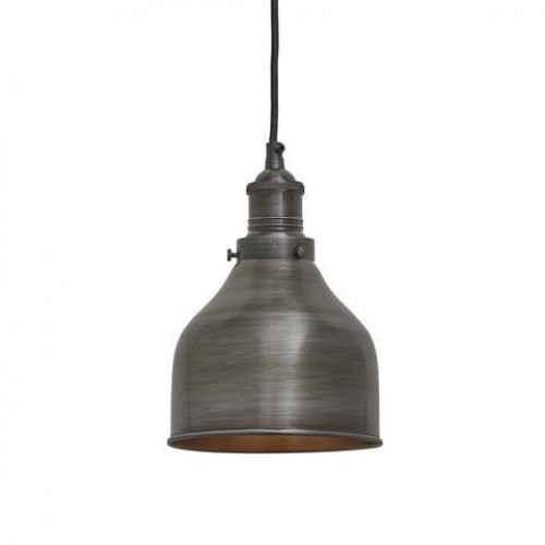 Brooklyn Vintage Small Metal Cone Pendant Light - Dark Pewter - 7 inch