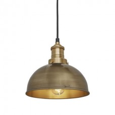 Brooklyn Vintage Small Metal Dome Pendant Light - Brass - 8 inch