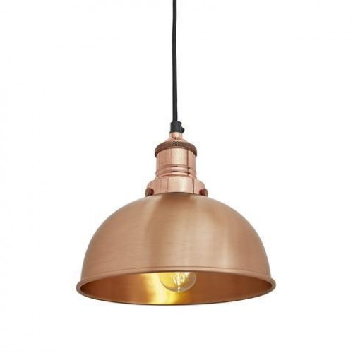Brooklyn Vintage Small Metal Dome Pendant Light - Copper - 8 inch