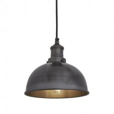 Brooklyn Vintage Small Metal Dome Pendant Light - Dark Pewter - 8 inch