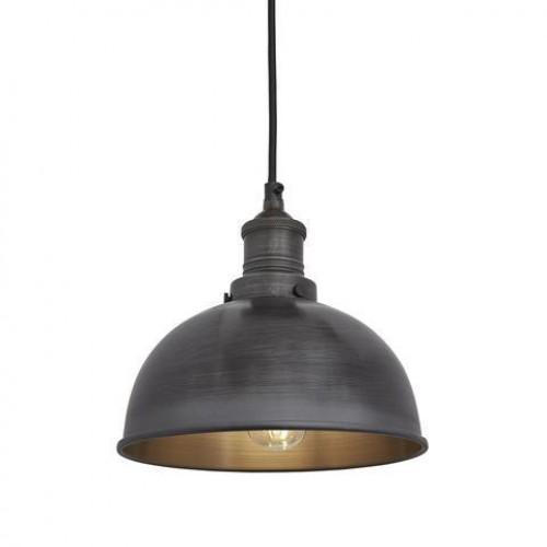 Brooklyn Vintage Small Metal Dome Pendant Light - Dark Pewter - 8 inch