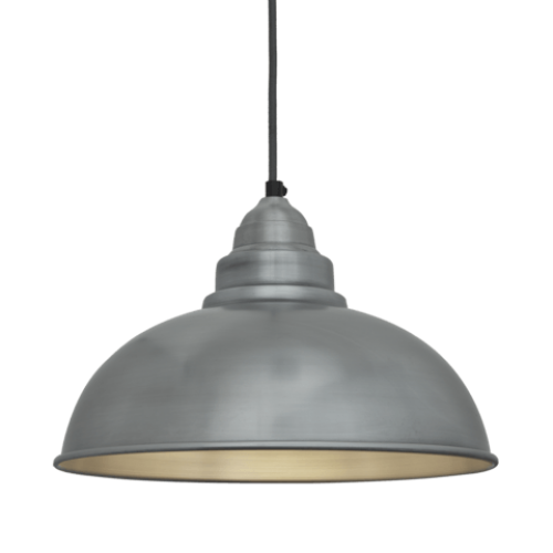 Old Factory Vintage Pendant Light - Pale Grey Pewter - 12 inch