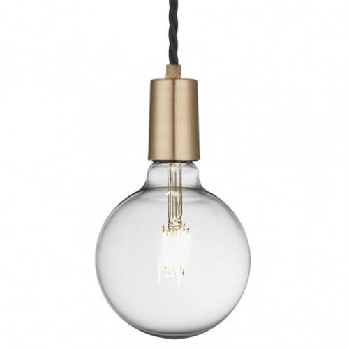 Vintage Sleek Edison 1 - Wire Pendant - Brass
