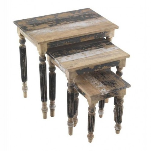 Piccadilly Industrial Style Wood Nest of 3 Tables