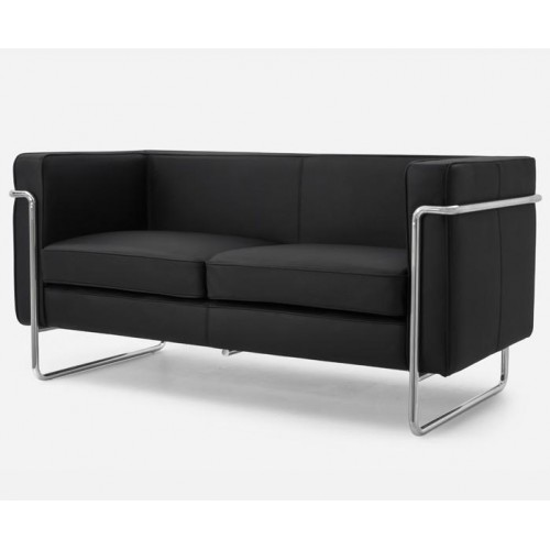 Le Bauhaus 2 Seater Sofa - Black Premium Leather and Stainless Steel