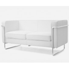 Le Bauhaus 2 Seater Sofa - White Premium Leather and Stainless Steel