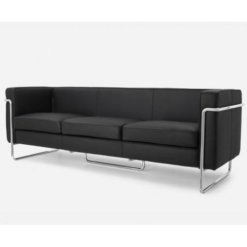Le Bauhaus 3 Seater Sofa - Black Premium Leather and Stanless Steel