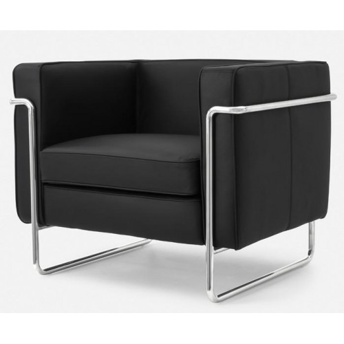Le Bauhaus Armchair - Black Premium Leather and Stainless Steel