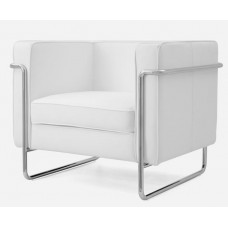 Le Bauhaus Armchair - White Premium Leather and Stainless Steel